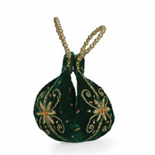 Forest Green Velvet Embroidered Daffodil Flower Potlitune Cookie Bag for Women