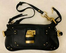 CHLOE Black Leather PADDINGTON Gold Lock Zip Wristlet Clutch Purse Shoulder Bag
