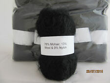 Mohair Wool Yarn 10 x 50g Balls Black 78% Mohair Double Knitting