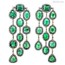 Emerald Gemstone 925 Silver Pave Diamond Chandelier Earrings Dangle 14k Gold NEW