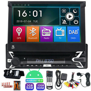 """CAMERA Single 1 DIN 7"""" Android 10 DVD Flip Up GPS Car Stereo Radio CD In Dash SD"""