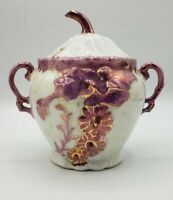 Pink Luster Double Handled Lidded Sugar Floral Stem Lid porcelain 4""