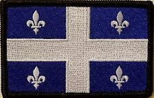 QUEBEC Flag Iron-On Patch Tactical Morale Emblem Black Border Version III