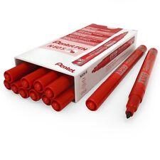 Pentel N50S Fine Permanent Marker – 3.18mm Bullet Tip – Pack of 12 - Red
