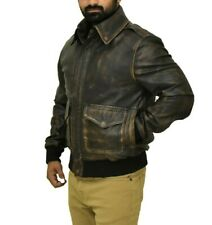 A2 Jacket G1 Bomber Aviation B3 Navy Pilot Vintage Brown Real Leather Jacket