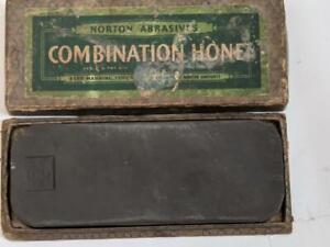 Vintage Norton Pike Razor Hone Whetstone / Sharpening Stone  original Box