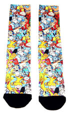 NICKELODEON 90S CARTOONS CHARACTER COLLAGE SUBLIMATED ALL OVER PRINT CREW SOCKS