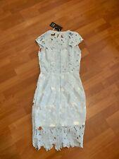 AX Paris Baby Blue Crochet Floral Midi Dress Size 8