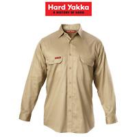 Mens Hard Yakka Long Sleeve Cotton Drill Work Shirt Tradie Safety Button Y07500