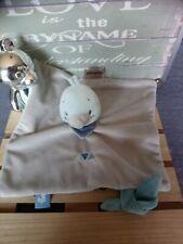 Doudou plat canard gris bleu triangles bandana attache tétine Nattou etat neuf