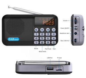 Digital Tragbare DAB/DAB+FM Radio +Akku Bluetooth4.2 Lautsprecher USB MP3 Player