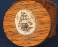 Vintage Wooden treen pill/ trinket box, naval, scrimshaw? 27 x 25mm *[16208]
