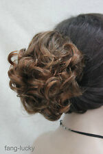 Brown mix red Short Curly Wavy claw clip Cute ponytail hair pieces wig FF020