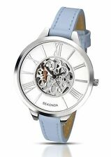 Sekonda Ladies Editions Watch Skeleton Design Pale Blue Strap White Dial 2313