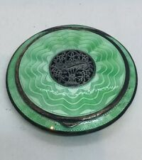 Austrian Antique Art Deco Sterling Silver Green Enamel Round Compact Case