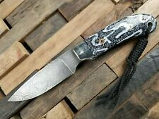 Castlegate Knives Neck Knife, Damascus Blade with Coral Handle