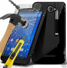 S-Gel Wave Tough Shockproof Case✔Glass Screen Protector✔Sony Xperia E4g
