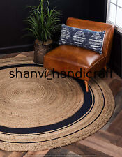 Round Braided Natural Handmade Hand Woven 8x8 Feet Area Rug Home Decor Floor Mat
