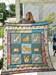Corgi Quilt Blanket, Thanksgiving Christmas Birthday Gift