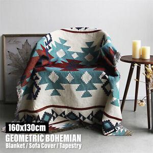 Geometric Tribal Ethnic Aztec Navajo Blanket Throw Rug Sofa Mat Art Decor Cotton