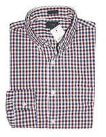 J.Crew Mercantile Men's L Tall - Slim Fit Maroon/Navy Gingham Flex Cotton Shirt