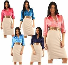 Work Machine Washable Dresses for Women with Belt