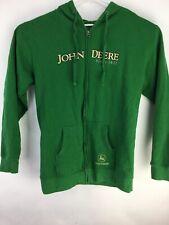 John Deere Green Full Zipper Hoodie Hooded Sweatshirt Size L Mens Jacket
