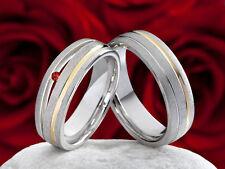 Eheringe Verlobungsringe Trauringe aus Silber und Gold mit Granat Gravur SPG018