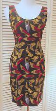 4 NICOLE MILLER SILK SHEATH DRESS UNIQUE SCARLET LINED LEOPARD PUMP Shoes PRINT