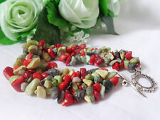 CHUNKY! NATURAL RED SEA CORAL AFRICAN TURQUOISE GEMSTONE BRACELET