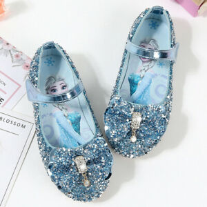 Frozen Elsa shoes Party glamour Girl's flat Heel Sparkling Glitter BLUE Colour