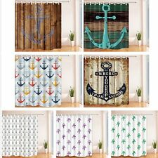 Nautical Anchor Pattern Waterproof Fabric Bathroom Shower Curtain & 12 Hooks New