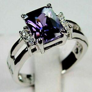 Fashion 925 Silver Rings Princess Cut Amethyst Women Wedding Jewelry Gift Size 8