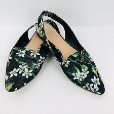 Franco Sarto Scarlett Slingback Flat Shoes Black Floral 8 Pointed Closed Toe