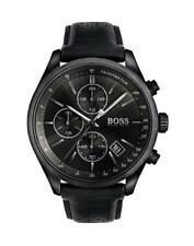 Men's Hugo Boss Black Leather Grand Prix Chronograph Watch HB1513474