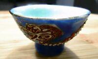 DRAGONWARE MORIAGE Blue WHISTLER GOLD TRIMMED SAKE SAKI CUP FLYING DRAGON