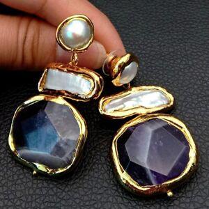 White Biwa Keshi Pearl Freshwater Amethyst Gold Plated Stud Earrings