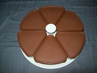 VINTAGE TUPPERWARE LAZY SUSAN 6 PIE WEDGE CONTAINERS BROWN LIDS GOOD CONDITION
