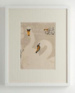 Original screenprint / woodblock print of swans - limited edition of 15 (1975)