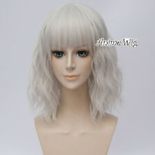 35cm Lolita Silver White Medium Curly Lady Party Cosplay Wig Heat Resistant+Cap