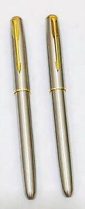 Stylish Silver & Gold Ballpoint Pen Stainless Steel Biro Pen - Black Ink .2 pcs.