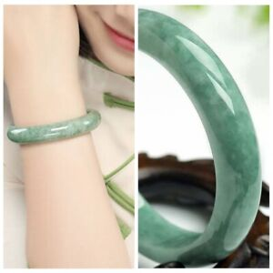 Female beautiful AAA Bangle 56mm-62mm Light Green Jade Hand-carved Bracelet