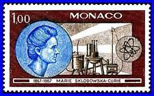MONACO 1967 SCIENCE / MARIA CURIE x2 STAMPS SC#672-73 MNH ATOM, CHEMISTRY NOBEL