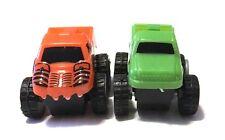 "Fun Pair of 2"" Plastic Friction Toy Trucks Orange & Green"