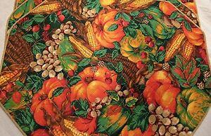 4 Quilted Thanksgiving Fall Placemats Pumpkins Grapes Corn Cornucopia Excellent