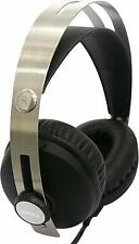 DJ Stereo Headphones Silver Compact Design Dynamic Stereo Sound Coiled Cable