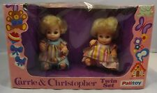 "VINTAGE 1970s BOXED PALITOY CARRIE & CHRISTOPHER 6"" DOLLS TWIN SET #32703"
