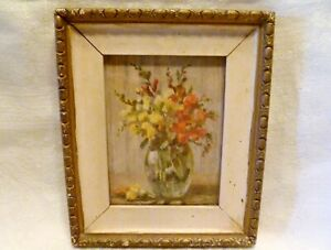ANTIQUE Miniature CARVED WOOD Wall PICTURE FRAME & FLORAL PRINT