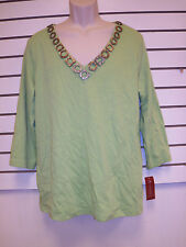 JM Collection New Womens Garden Palm Natural Wonders Green Blouse Shirt Top 1X