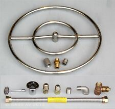 """18"""" Stainless Steel FIRE PIT DOUBLE RING GAS BURNER KIT LP PROPANE 1/2""""connecter"""